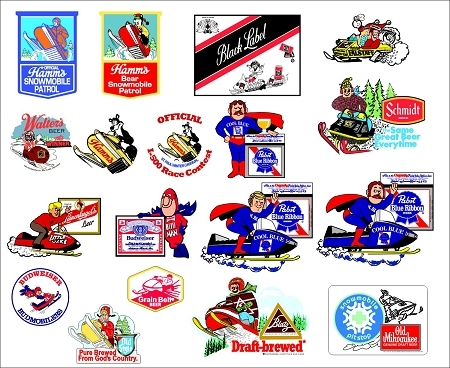 Vintage Reproduction PBR Man Snowmobile Beer Decal