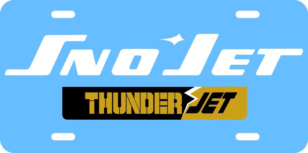 Sno Jet ThunderJet Logo Vintage Snowmobile License Plate
