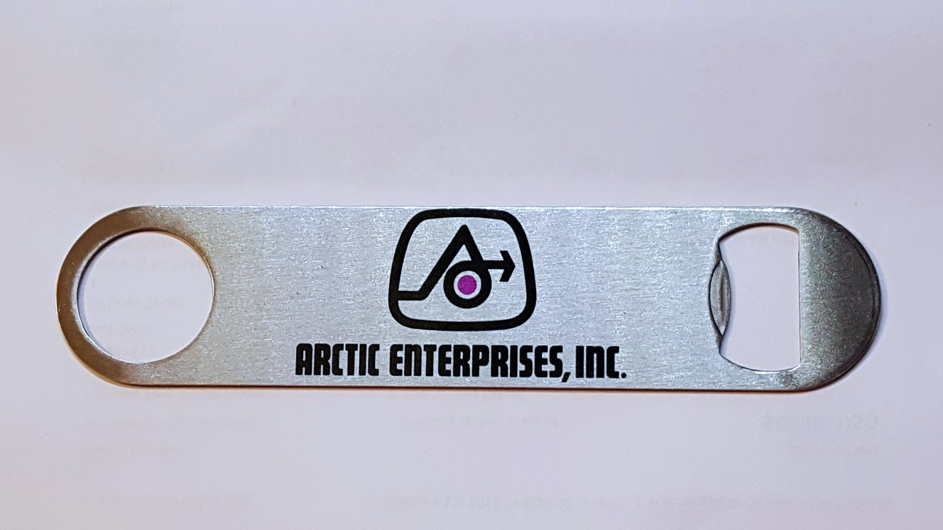 New Stainless Steel Bottle Opener with Vintage ArcticEnterprises Logo