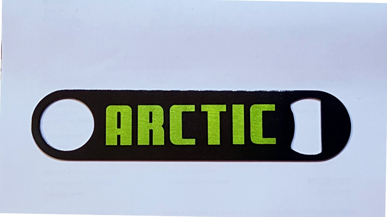 New Stainless Steel Bottle Opener with Vintage Green Arctic Cat Snowmobiles Logo