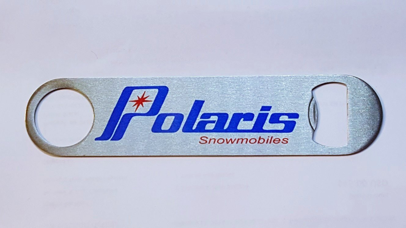 New Stainless Steel Bottle Opener with Vintage Polaris Snowmobiles Logo