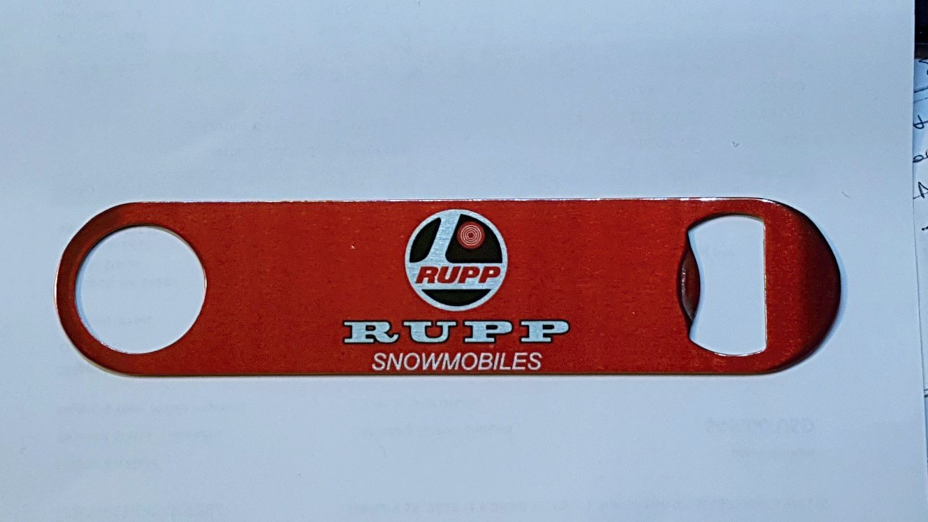 New Stainless Steel Bottle Opener with Vintage Rupp Snowmobiles Logo