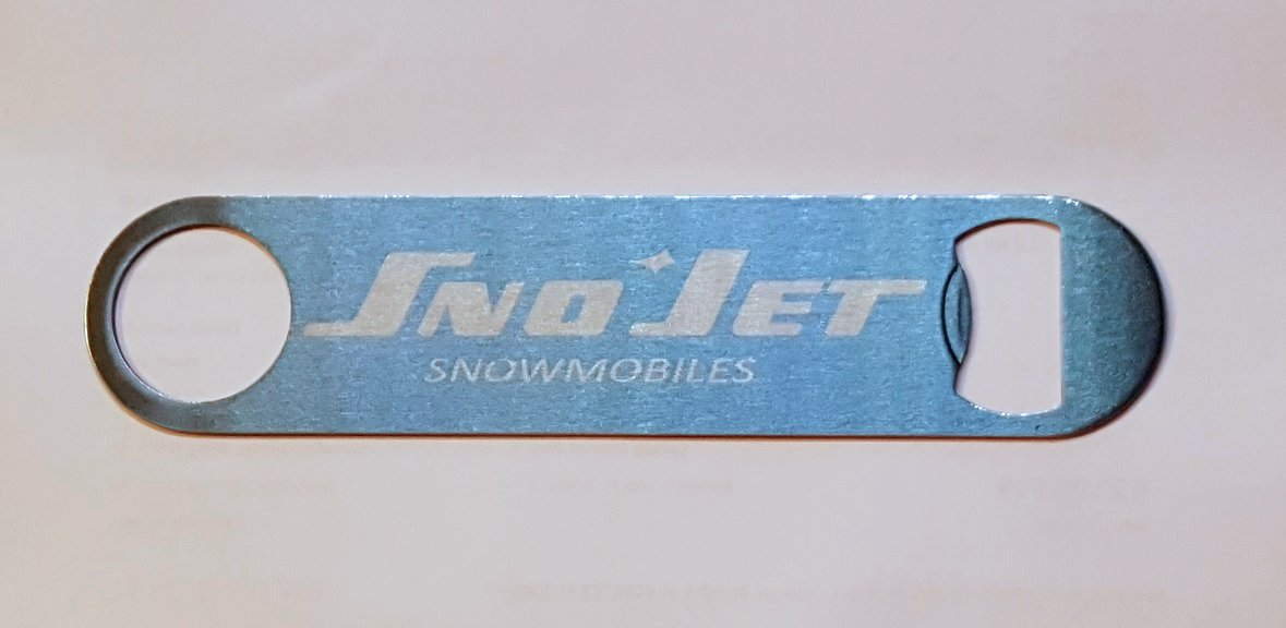 New Stainless Steel Bottle Opener with Vintage Sno-Jet Snowmobiles Logo
