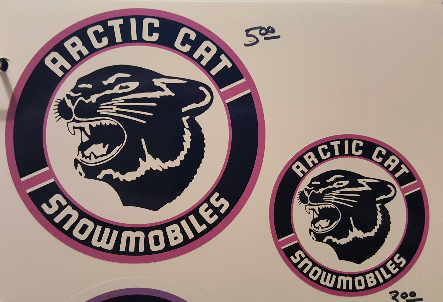 Pink Arctic Cat Round Cat Head Decal Patch Style