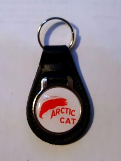 Reproduction Vintage Arctic Cat with Red Bear Medallion Style Leather Keychain