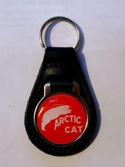 Reproduction Vintage Arctic Cat with White Bear Medallion Style Leather Keychain
