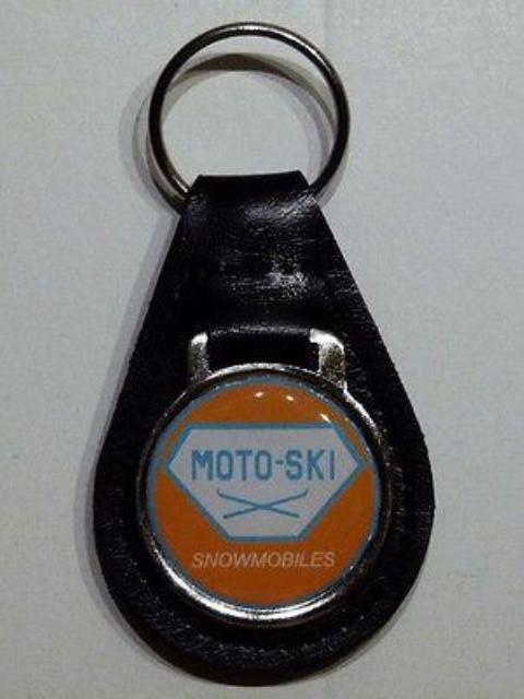 Reproduction Vintage Motoski Snowmobile Medallion Style Leather Keychain