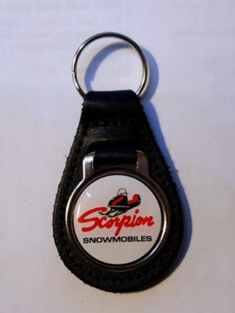 Reproduction Vintage Scorpion Sled Snowmobile Logo Leather Keychain