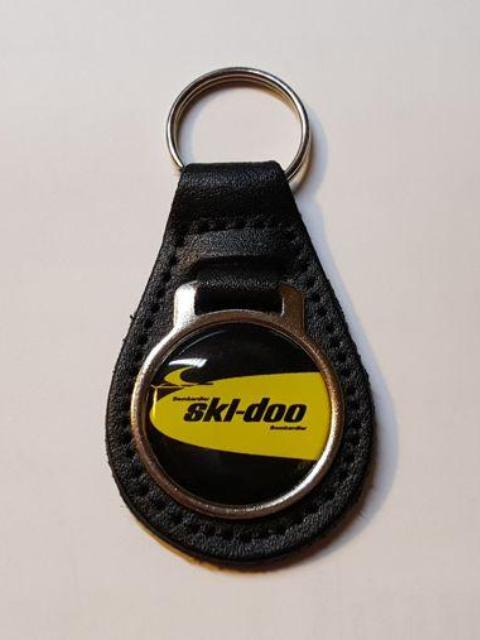 Reproduction Vintage Ski Doo Dealer Snowmobile Logo Leather Keychain