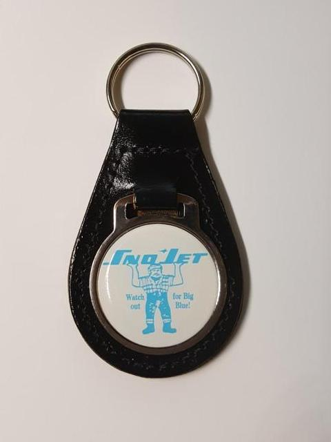 Sno Jet Big Blue Snowmobile Medallion Style Leather Keychain