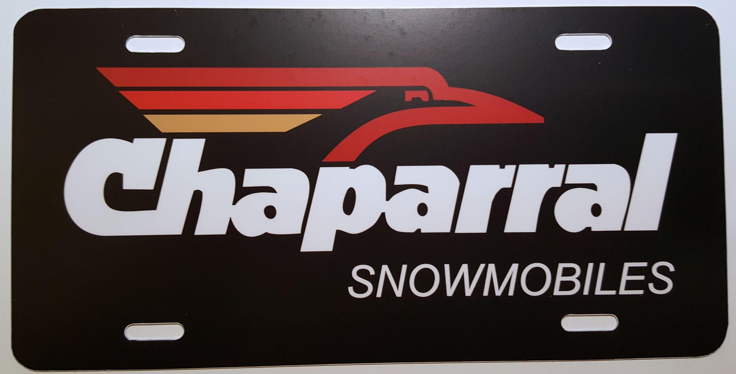 Chaparral Black Logo Vintage Snowmobile License Plate