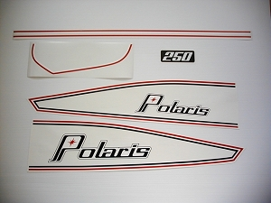 74 Polaris PDC twin hood 250 Decal Kit