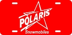 Polaris Red Shooting Star Logo Vintage Snowmobile License Plate