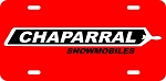 Chaparral Red Logo Vintage Snowmobile License Plate