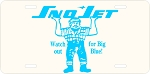 Sno Jet Big Blue Logo Vintage Snowmobile License Plate