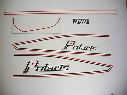 74 Polaris PDC twin hood 340 Decal Kit