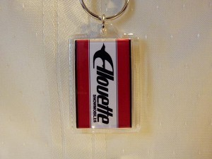 Alouette Word Red White Keychain-Acrylic