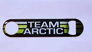 New Stainless Steel Bottle Opener with Vintage Team Arctic Cat Snowmobiles Logo